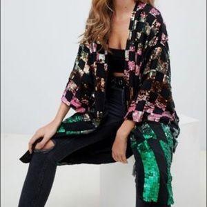 ASOS checkerboard sequin kimono